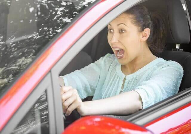 woman braking suddenly