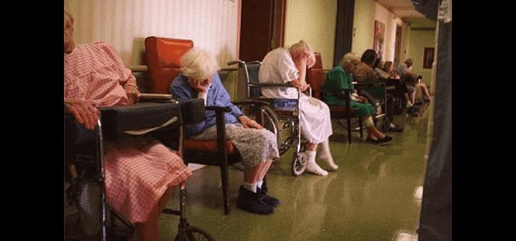 nursing home patients in hallway