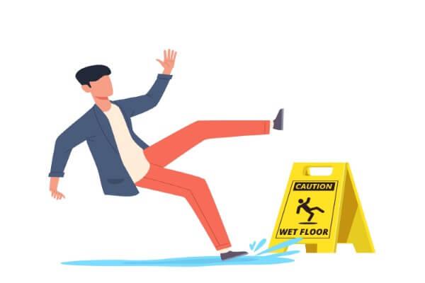 Man falling on a wet floor.
