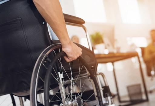 Man on a manual wheelchair